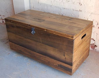 Reclaimed Wood Coffee Table/ Rolling Wooden Crate/ Wooden Chest