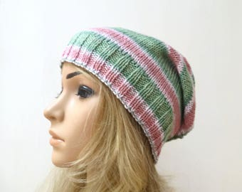 Cotton Slouchy Beanie Hat - Hand Knit Hat - Women Cotton Knit Hat - Pastel Pink Green Slouch - Eco Friendly Spring Beanie - ClickClackKnits