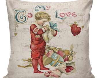 Valentine Pillow, Love Pillow, Romance, French Style Throw Pillow Cushion Cotton with Cotton or Burlap Back #VA0054 Elliott Heath Designs
