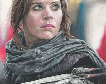 Colored Pencil / Graphite Drawing Print of Jyn Erso (Felicity Jones) and a Rebel U-Wing in Star Wars: Rogue One