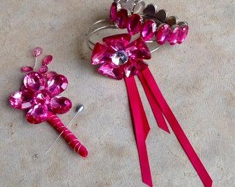 Prom Corsage Boutonniere Set | Wrist Corsage | Pink Corsage & Boutonniere | Prom Bracelet with Boutonniere