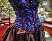 goth steampunk burlesque black satin corset long frilled taffeta satin bustle skirt  lace necklace 36inch bust waist 28inch ajustable size