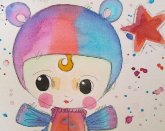 Original Mixed Media Watercolor Bear Fairy Girl Purple Red Blue by Ceville Designs