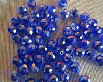 8mm x 6mm Blue AB Rondelles (64) Glass Crystals Blue Crystal Beads Loose Beads Faceted Crystals For Jewelry Making Detash