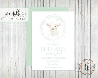 Little Lamb Birthday Invitation, Sheep First Birthday, Sweet Baby Lamb Birthday Invitation- Printable, 5x7