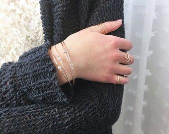 Set of Delicate Diamond Alternative Bangle / Gold Stacking Bangle / Dainty 14k Gold Bangle / Diamond Solitaire Bracelets / April Birthstone