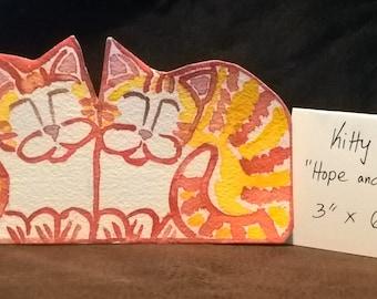 Two Orange Kittens - Kitty Sitz – 3-d shelf setter-for shelf or desk - original cat art for cat lovers – two dollar shipping