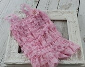 Pink Baby Lace Romper, Petti Lace Romper, Baby Outfit, Ruffle Romper, Girls Romper, Newborn Petty Romper, 1st Birthday Wedding Photo Prop