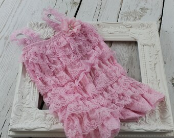 Pink Baby Lace Romper, Petti Lace Romper, Baby Outfit, Ruffle Romper, Girls Romper, Newborn Petty Romper, 1st Birthday Wedding Photo Prop