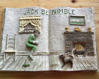 3 DOLLARS or LESS Vintage Kitschy Jack Be Nimble Nursery Rhyme Book 3D Wall Hanging for Nursery, Bedroom, Play Room , Molded Fiberglass