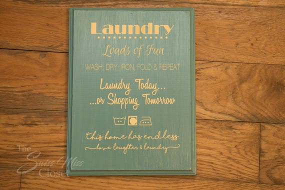 "Wooden Laundry Room Sign 11.50"" Tall x 8.5"" Wide Great Mother's Day Gift"