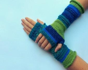 Knit fingerless gloves arm warmers fingerless mittens knit wrist warmers hand warmers striped blue green