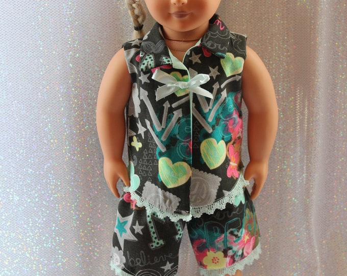 "18"" doll clothes  handmade to Fit like American Girl, Spring/Summer! Pajamas, Blouse with Bow and Lace, print Shorts Free Shipping"