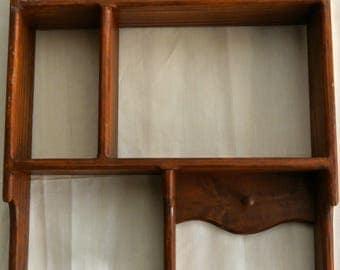 Vintage wooden display shade box - varnished pine - suit kitchen bathroom bedroom