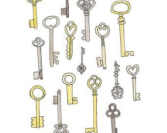 Skeleton Keys - Watercolour Art Print