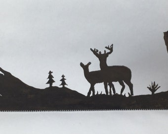 Metal Whitetail Mountain Scene Plasma Cut by Hand Repurposed Hand Saw, Wall Decor, Art
