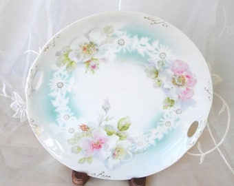 Spring Sale Weimar Germany Handled Antique, Porcelain Plate, Pink and White Wild Roses, Edwardian,Highlights of Blue