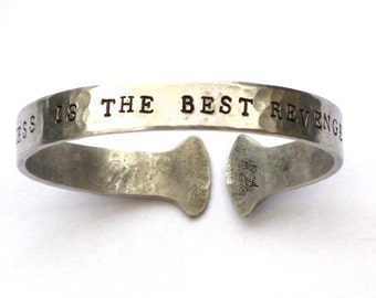 Inspirational Quote bangle 'Success Is The Best Revenge' Hand stamped aluminium ladies bracelet