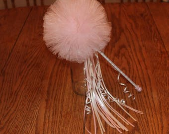 Flower Girl Wand, Tulle Bouquet, Tulle Pom Pom Wand, Tulle Wand, Flower Girl, Pink Fabric Bouquet, Bouquet Alternative, Bridesmaids Bouquets