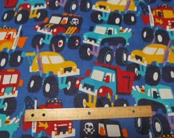 Blue Big Monster Truck/Car Flannel Fabric by the Yard