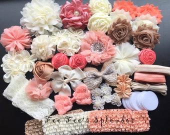 Vintage Floral Headband Kit- Baby Shower station * Makes 20 headbands * Headband supplies- DIY Headband kit  (Kit #10) Cream, Peach, Pink