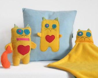 Baby Shower Gift Set, Stuff Cat Animal Plush Toy, Baby Blanket Set, Yellow Blue Fun Decorative Pillow, Stuffed Cat toy Gift, New Baby Gift