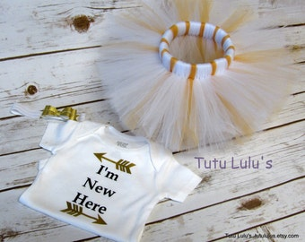 Newborn Outfit, Coming Home Outfit, Baby Shower Gift, Newborn Tutu, Infant Tutu, Baby Girl Fashion, White and Gold Tutu, Baby Girl Clothes