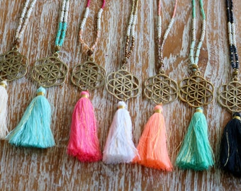Seed of Life Necklace - Sacred Geometry Jewelry - Tassel Necklace - New Beginnings - Abundance - Fertility - Boho Necklace