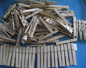 Wood Clothes Pins-94 Wooden Clothes Pins-Laundry Pins-Vintage Clothes Pins-Spring Clothes Pins-bowl filler-order#26