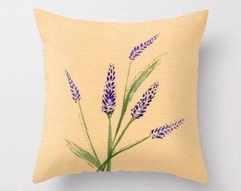 Rustic Lavender Throw Pillow, lavender throw pillow, farmhouse pillow, lavender pillow, floral pillow, rustic pillow, rustic lavender