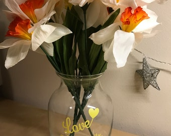 Love Makes a Family Clear Yellow Vase