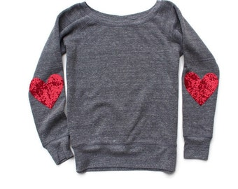 Valentines Day Shirt. Sequin Heart Elbow Patch Sweatshirt Jumper. Heart on My Sleeve. Slouchy Wide Neck Off the Shoulder Pinterest Tumblr