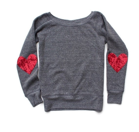Valentines Day Shirt Sequin Heart Elbow Patch Sweatshirt