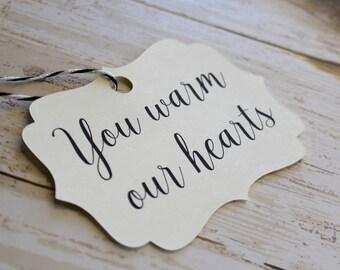 Wedding Favor Tag, Bracket Tag, Warm our Hearts, Favor Tag, Gift Tag, Weddings