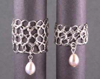Size 4 Silver Pearl Rings | Freshwater pearls jewelry | Sterling silver wire crochet jewelry | June birthstone | nickel free jewel