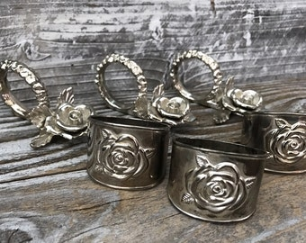 Vintage Set of 3 Princess House Silverplated Heritage Napkin Rings & 3 Silverplate Rose Napkin Rings /Place Card Holders