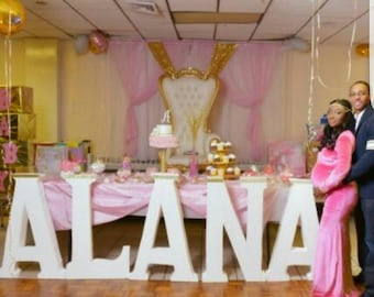 Baby Shower Centerpieces-Baby shower Decor-Styrofoam Name- Free Standing Letters- White letter Block- Personalized table-Baby name