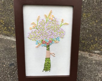 Hand Embroidered Flower Bouquet Embroidered Art Framed Art Floral Embroidery Thread Painted Art Framed Embroidery Gifts For Her