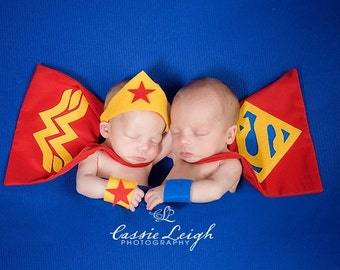 Wonder Women & Superman Costumes for Newborn Twins Girl and Boy, Photography Prop, DC Comics, Superhero Set, Superheroes for Multiples