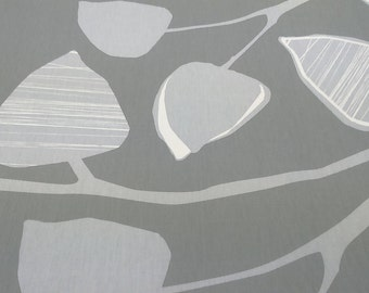 Curtain panel beige grey white leaves Abstract Modern Decor Cafe curtain Kitchen valance , also runner , napkins available, great GIFT