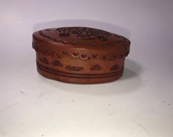 Vintage Tooled Leather Box With Lid Peru Llama Oval