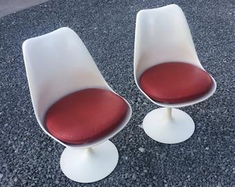 Vintage 1950's Eero Saarinen Knoll Side Chairs Leather Seats