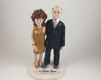 Custom Polymer Clay 50th Anniversary Cake Topper, Couples Figurine, Anniversary Sculpture