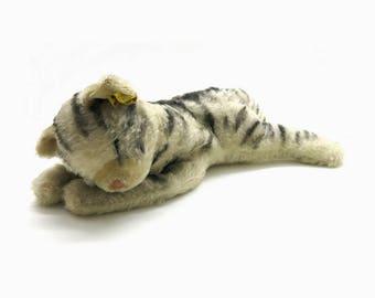 Old  Steiff Cat Floppy Kitty 5600-28 | 1968 - 1969 | Sleeping Cat vintage