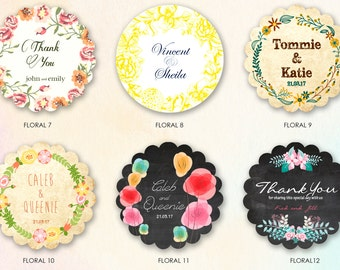 Floral Pattern Gift / Favor / Thank you Tag or Stickers. Personalized colors and text. Set of 150