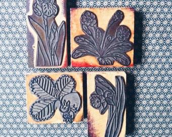 french vintage rubber stamp, flower, spring, printemps, fleur, bouton d'or, tampons