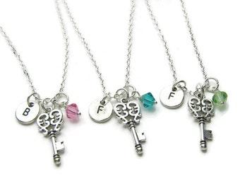 3 Key Initial Swarovski Birthstone Bead Necklaces, Best Friends Necklaces, Sisters Necklaces, Key Best Friends Necklaces, BFF Necklaces