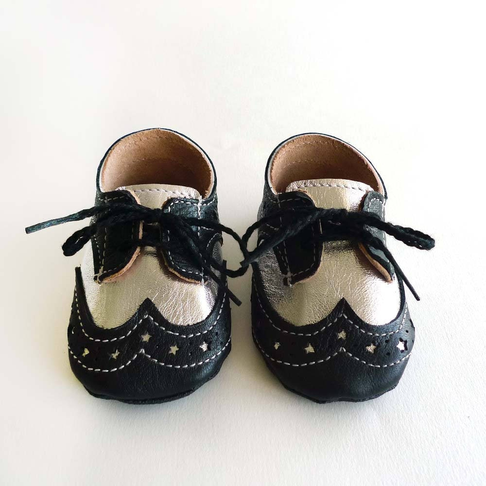 Baby Boy or Girl Shoes Black and Silver Leather Soft Sole