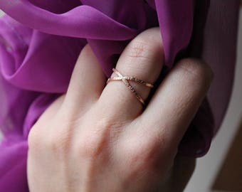 Gold-Filled Criss-Cross Ring | Hammered Texture | Simple, Minimalist, Jewelry Staple | Free Shipping on orders 30+