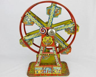Vintage Ferris Wheel Toy, Tin, Wind Up, Hercules, OLD!